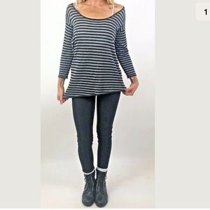 Zara Asymetrical Hem Metallic Shimmer Striped Top